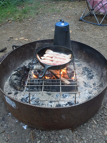 Campfire bacon and coffee