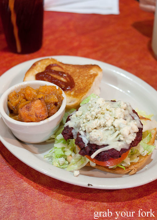 red white and bleu blue cheese burger with candied yams at hoover's cooking austin texas