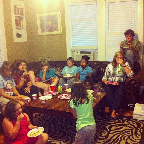 Pizza, Despicable Me, and a bevy of birthday celebrants.