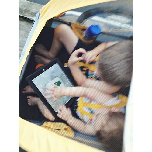 The kids enjoyed playing together on the iPad during our run this evening. #latergram #pictapgo_app