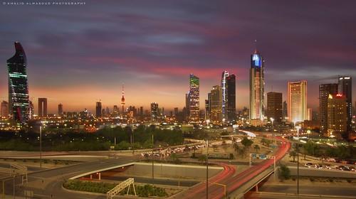 Kuwait city in dusk glare
