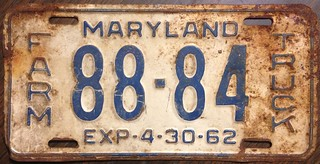 MARYLAND 1961 (EXP-4-30-62) ---FARM TRUCK LICENSE PLATE