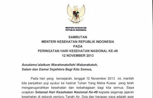 Sambutan Menteri Kesehatan ttg HKN ke-49 thn 2013