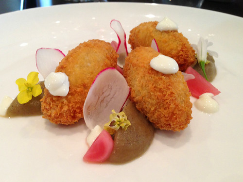 Chickpea Croquettes w Radish and Lentils at Gladioli Restaurant