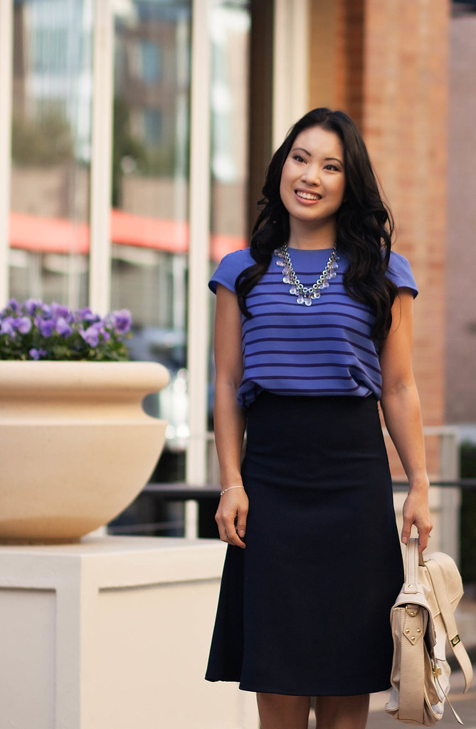 cute & little blog | monochromatic blues | striped shirt, navy midi skirt outfit