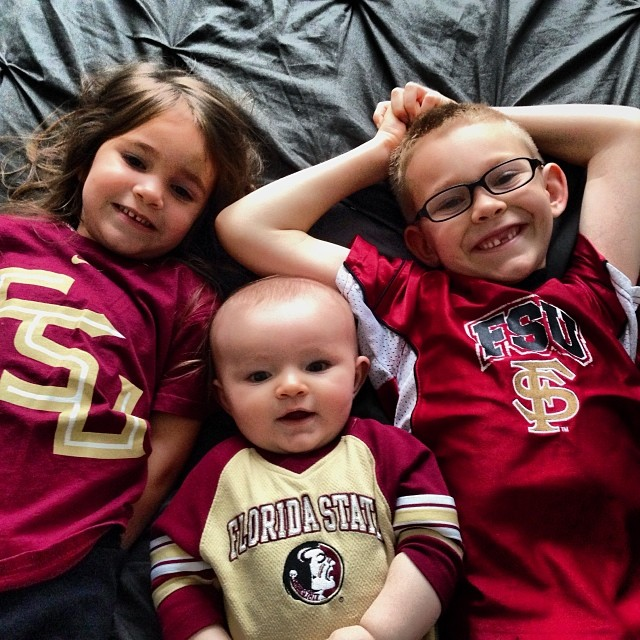 Three little Seminoles jumping on the bed... #gonoles #fsu