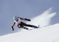 Gagnon enroute to a 6th place finish in the super-G in St. Moritz, SUI