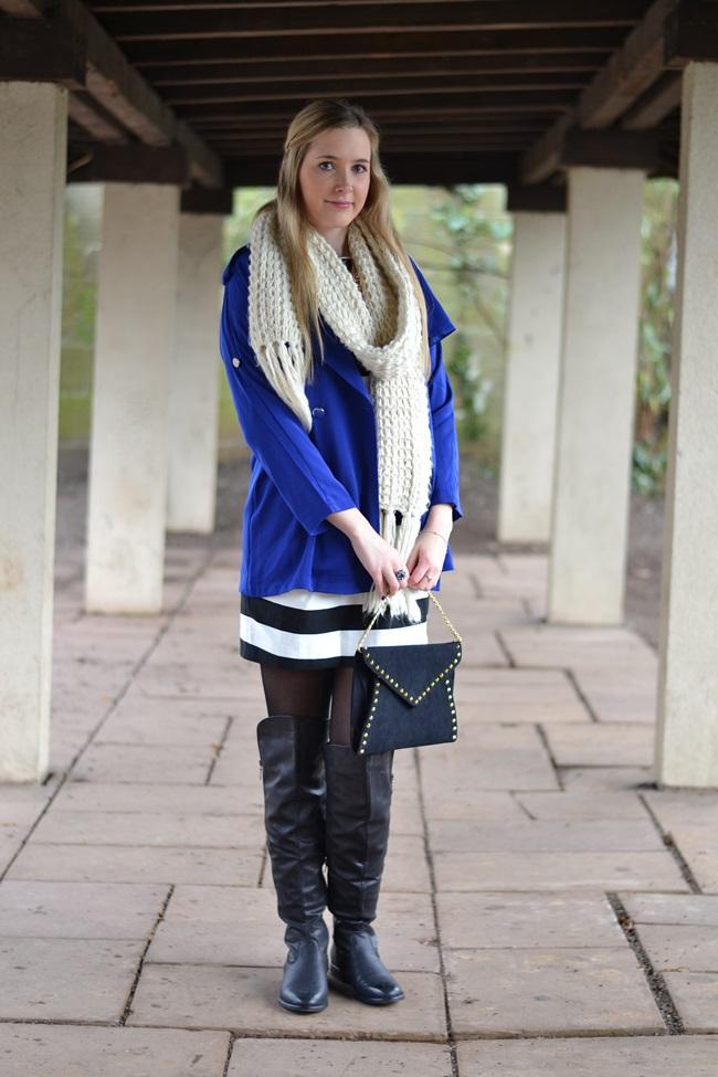 Outfit gestreiftes Kleid und blaue Jacke (1)