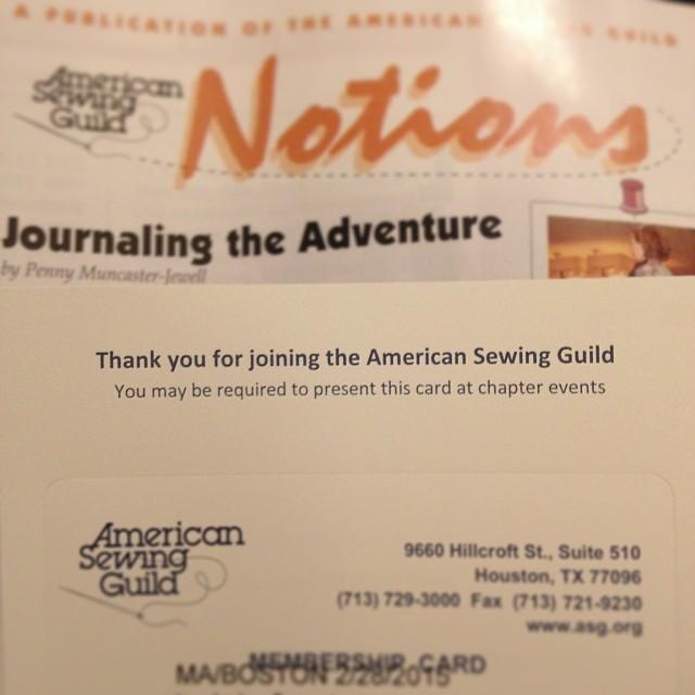 Heck yeah, ASG membership! #asg #americansewingguild