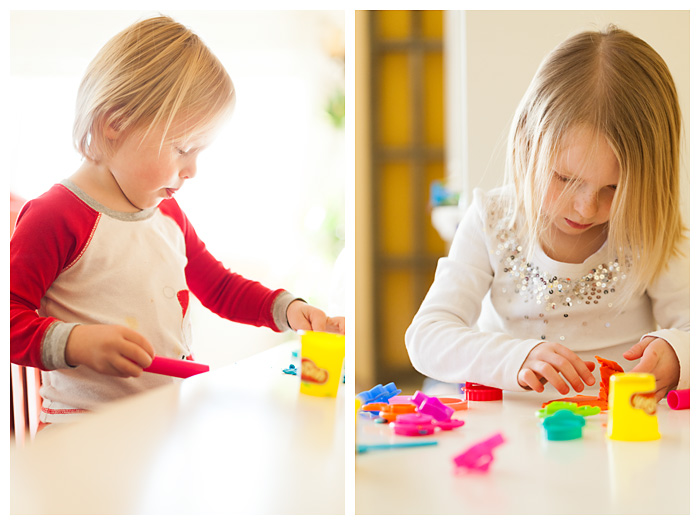 Two Children playing with Play-doh
