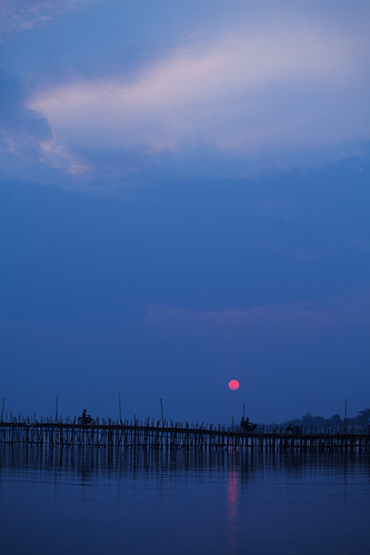 bridge blue sunset sky cambodge cambodia bamboo bleu ciel pont mekong bambou coucherdesoleil