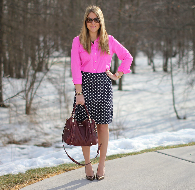 Pink Blouse and Polka Dot Skirt Outfit Idea