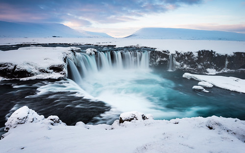 longexposure travel snow ice nature water sunrise landscape dawn waterfall iceland twilight europe cloudy nordic northeast ísland godafoss halflight mývatn goðafoss waterfallofthegods republicoficeland lakemývatn norðurlandeystra lýðveldiðísland northeasternregion pwwinter