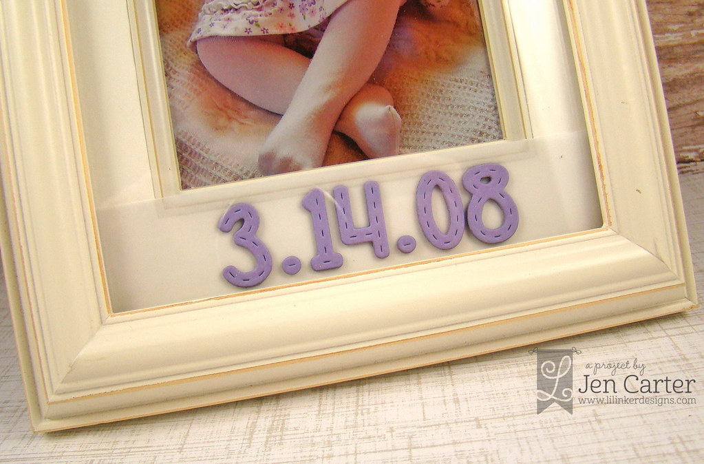 Jen Carter Stitched Alpha Baby Frame Closeup