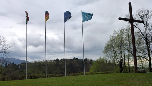 the hill with flags