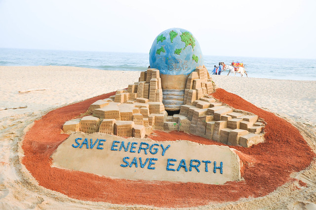 "Sand Art ""World Earth Hour Day"" at puri beach,Odisha by Mr. Manas Kumar Sahoo"