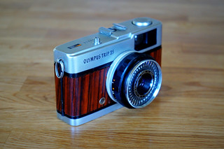 Olympus Trip 35 veneered with Brazilian Rosewood