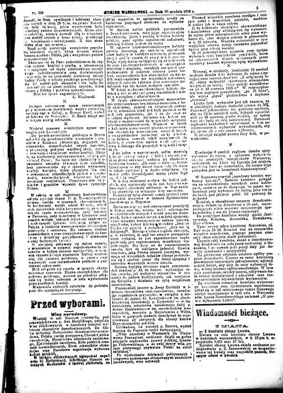 Kurier Warszawski - page 3- 30th of December 1919