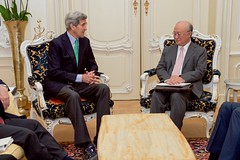 U.S. Secretary of State John Kerry chats with International Atomic Energy Agency Director General Yukiya Amano on June 29, 2015, in Vienna, Austria, at the outset of a discussion amid the latest round of negotiations with Iranian officials about the future of their country's nuclear program. [State Department Photo/Public Domain]