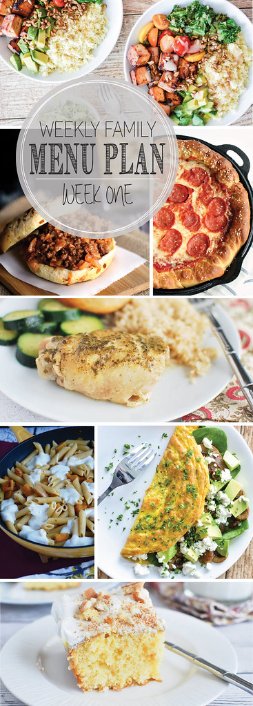 Weekly Family Menu - featuring 5 dinner ideas, a weekend breakfast, and a delicious dessert!