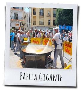 Het toevoegen van de rijst voor de reuze paella