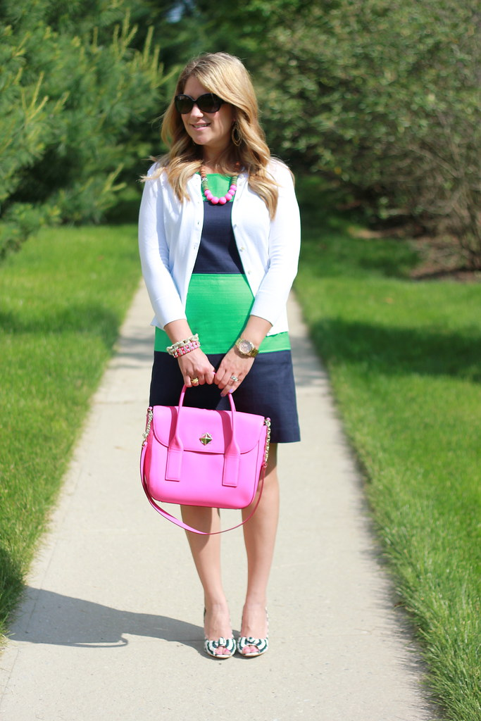 Striped Shoes + Colorblock Dress Outfit