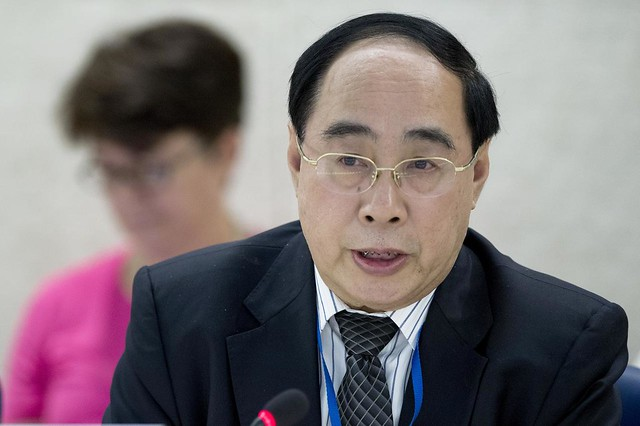 """Wu Hongbo, Under-Secretary-General for Economic and Social Affairs a Thematic discussion on """" The contribution of the Economic and Social Council to the elaboration of the post-2015 development agenda as a principal body for policy review, policy dialogue and recommendations on issues of economic and social development and for the follow-up to the Millennium Development Goals"""" during the United Nations Economic and Social Council ( ECOSOC ). Thursday 4 July. Photo by Jean-Marc Ferré"""