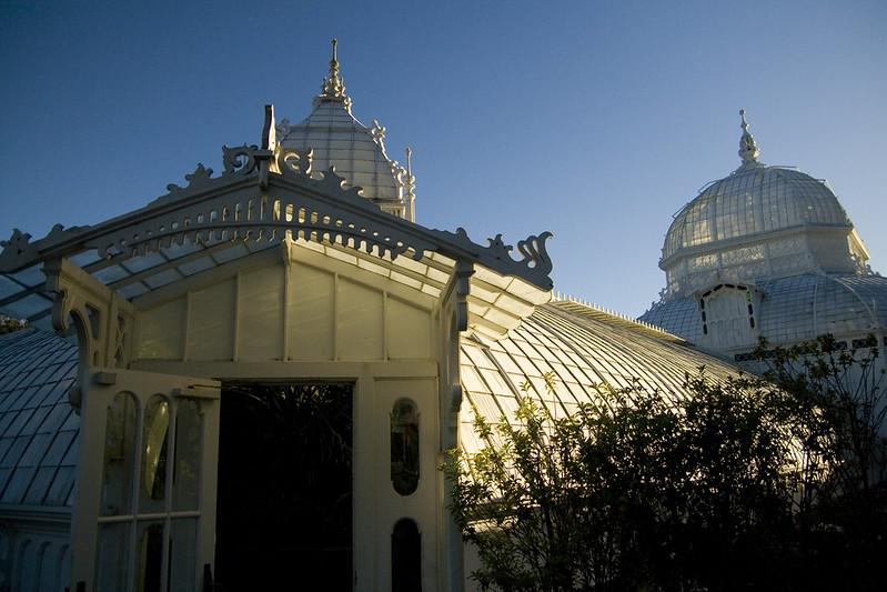 Conservatory building dusk