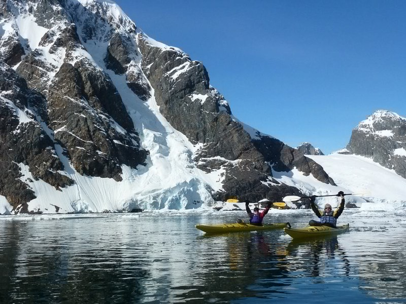 Dave and Deb kayaking-antarctica