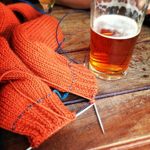 Knitting at the pub.