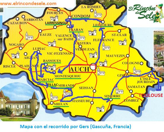 Mapa de ruta del viaje al Gers (Gascuña, Francia)