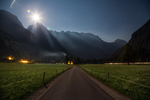 road flowers blue sky cloud moon mist mountains fog night fence lights star fan warm cloudy trails full ridge slovenia alpine pasture valley farms beams logarska dolina lodges glacial mountainous lenar savinjska potd:country=gb yahoo:yourpictures=bestof2013