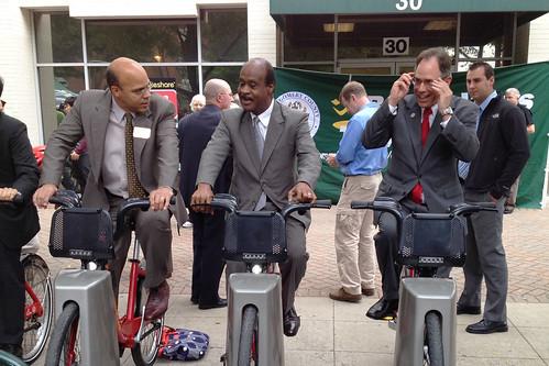 Al Carr, Ike Leggett + Roger Berliner on Bikeshare Bikes