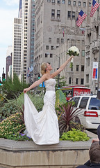 Brides in the Middle of North Michigan Avenue