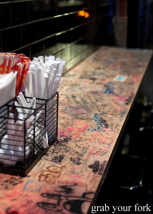 graffiti counter at baohaus new york nyc east village