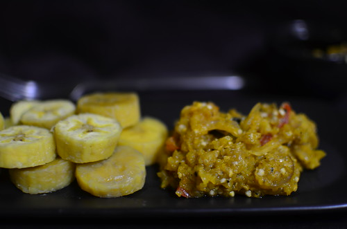 Garden egg sauce and boiled unripe plantains