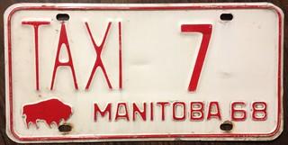MANITOBA 1968 ---TAXI LICENSE PLATE