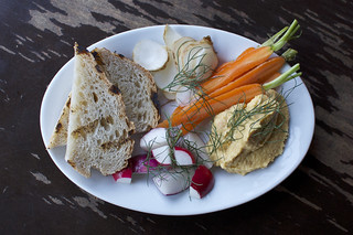 butternut squash hummus, crudite at The Roosevelt