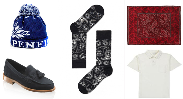 Penfield Dumont Bobble Hat in Navy, Russell & Bromley Keeble 3 Loafers, Liberty London Red Eastwood Print Silk Pocket Square, Sunspel Riviera Polo Shirt and Happy Socks Paisley Sock