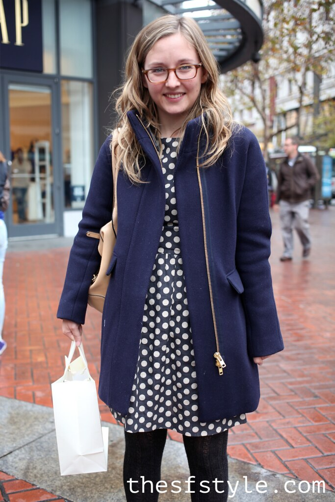 navy coat, polka dot dress, bowling bag, wooden heel booties, san francisco street style fashion blog,