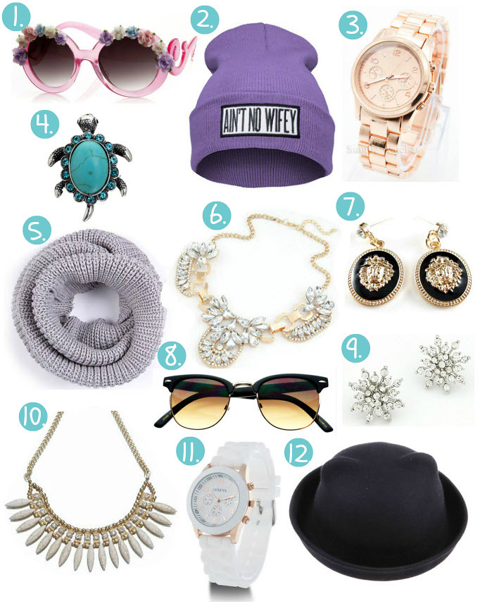 Best of ebay bargains accessories featuring items like: round shaped pink sunglasses with flowers, ain't no wifey hat, beanie, rose gold watch similar to michael kors watch, turqouise turtle ring, circle round scarf, lion face print jewellery earrings, retro sunglasses, snowflake earrings, geneva silicone watch under $3, cat ear bowler hat