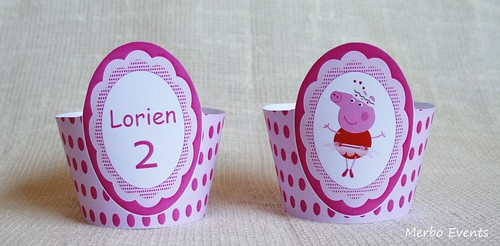 Wrappers cupcakes Kit imprimible Peppa Pig Bailarina Merbo Events