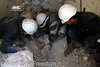 Rescue workers trying to remove the body of a child from under the rubble after the residential area was hit by ASSad death and hate barrels