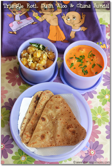 Triangle Chapati Dum Aloo Chana Sundal Here Comes The Next Lunchbox