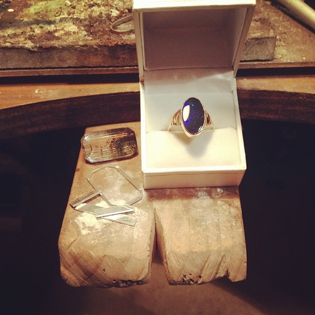 Progress: one set, polished and finished 9ct gold Opal custom ring, and one Madagascan Quartz setting in Silver, ready to be soldered together. :) #onthebench #instasmithy #jeweller #handmadering