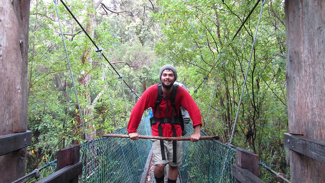 Day 41: Mikey on Deep River suspension bridge