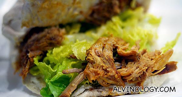 Inside of the pulled pork sandwich