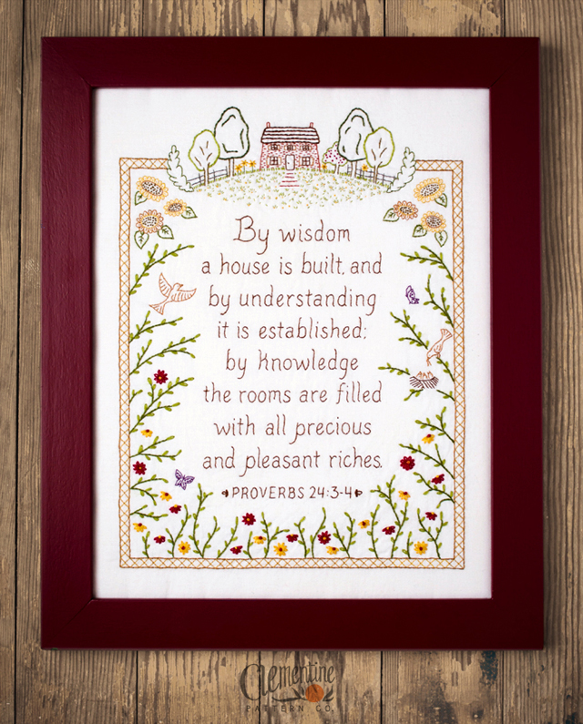 Proverbs Embroidery by Clementine Pattern Co.