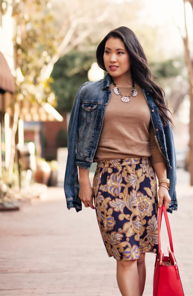 cute & little blog   petite fashion   spring paisley denim layering   jean jacket, paisley skirt, ankle booties, statement necklace, kate spade red elissa bag outfit