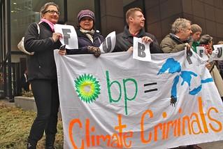 Demonstration against the BP oil spill in Lake Michigan